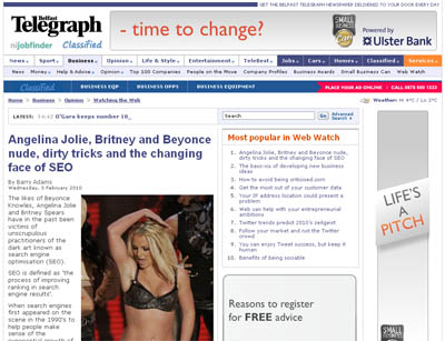 The changing face of SEO on the Belfast Telegraph site